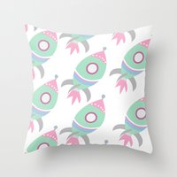 spaceship Throw Pillows featuring Spaceship by Kristina Loren