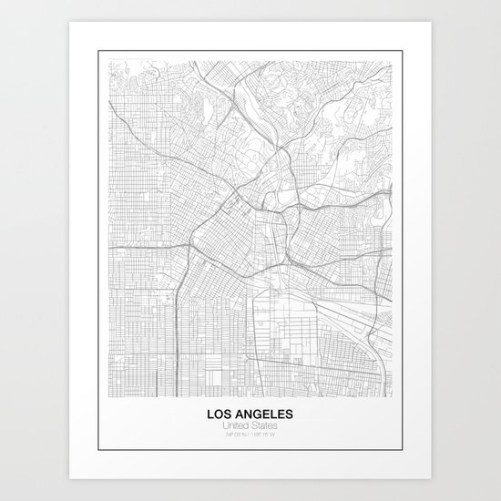 Los Angeles United States Minimalist Map Art Print By Resfeber: Los Angeles Map Print At Infoasik.co