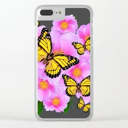 PINK ROSES YELLOW MONARCH  CHARCOAL ART Clear iPhone Case