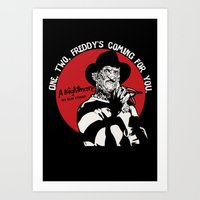 freddy krueger Art Prints featuring Freddy K quote v2 by Buby87