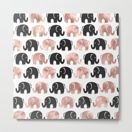 Cute rose gold black hand drawn elephant pattern Metal Print