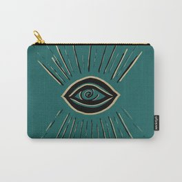 Evil Eye Gold Black on Teal #1 #drawing #decor #art #society6 Carry-All Pouch