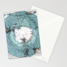 Antarctica Map Stationery Cards