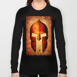 Spartan Helmet On Rust Background - Molon Labe Long Sleeve T-shirt