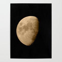 4K Dark Side of the Moon Golden Yellow Poster