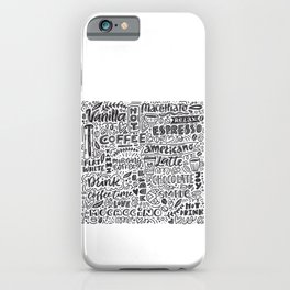 Types of coffee typography illustration iPhone Case