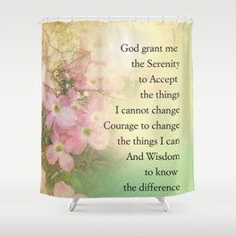 Serenity Prayer Dogwood Glow Shower Curtain