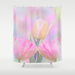 Painterly Pastel Tulips Shower Curtain