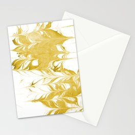 Suminagashi 3 gold and white marble spilled ink ocean swirl watercolor painting Stationery Cards