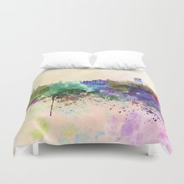 Abu Dhabi skyline in watercolor background Duvet Cover