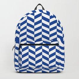 Cobalt Blue Herringbone Pattern Design Backpack