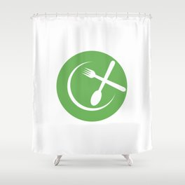 Green Plate with spoon and fork symbolizing Vegan friendly Shower Curtain