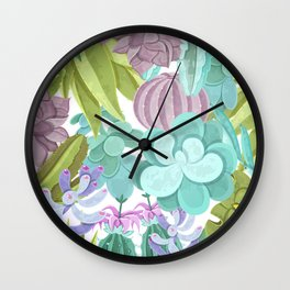 Tropical Cactus Pattern Wall Clock