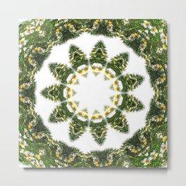 Little White Wildflower Kaleidoscope Art 5 Metal Print