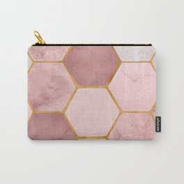 Pink and Gold Hexagon Print Carry-All Pouch