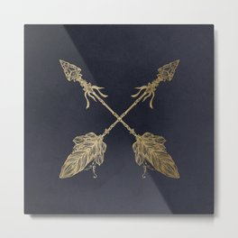 Arrows Gold Copper Bronze on Navy Blue Metal Print