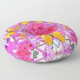 PINK ROSES YELLOW BUTTERFLIES  MODERN PINK GARDEN Floor Pillow