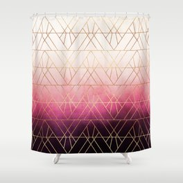 Pink Ombre Triangles Shower Curtain