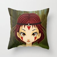 mononoke Throw Pillows featuring Mononoke by Paz Huichaman