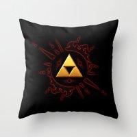 the legend of zelda Throw Pillows featuring The Legend Of Zelda  by DavinciArt
