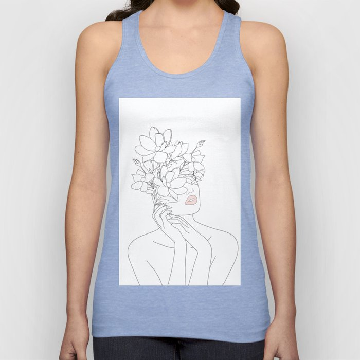 Minimal Line Art Woman with Magnolia Unisex Tanktop