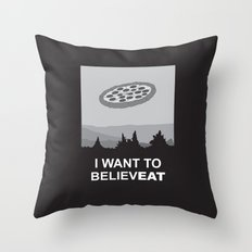 I want to believeat - pizza Throw Pillow