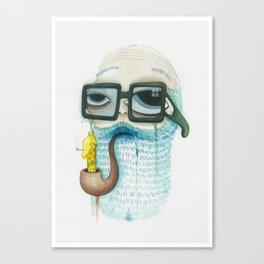 Old Man Smoking Giraffe Pipe Canvas Print
