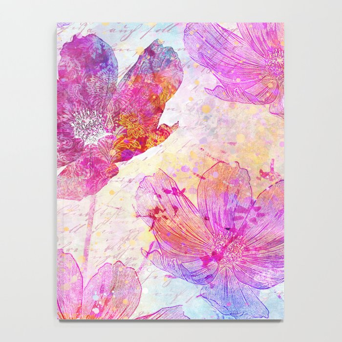 colorful Flowers mixed media art Notebook