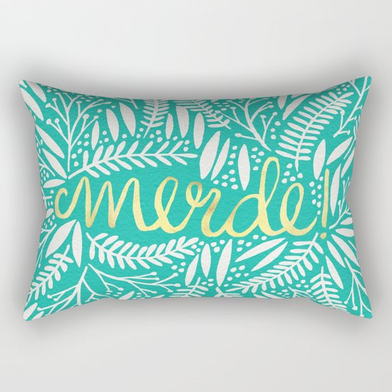 Pardon My French – Gold on Turquoise Rectangular Pillow
