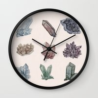 crystals Wall Clocks featuring Crystals by Samantha Crepeau