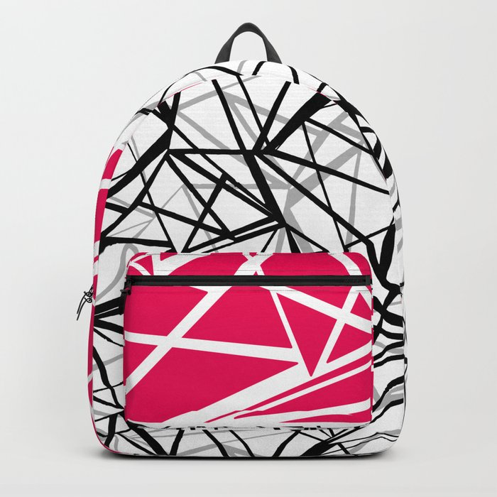 Black and white abstract geometric pattern with red inlay . Backpack