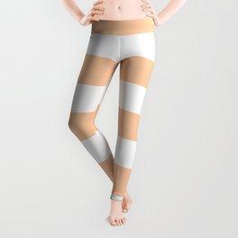 Peach - solid color - white stripes pattern Leggings