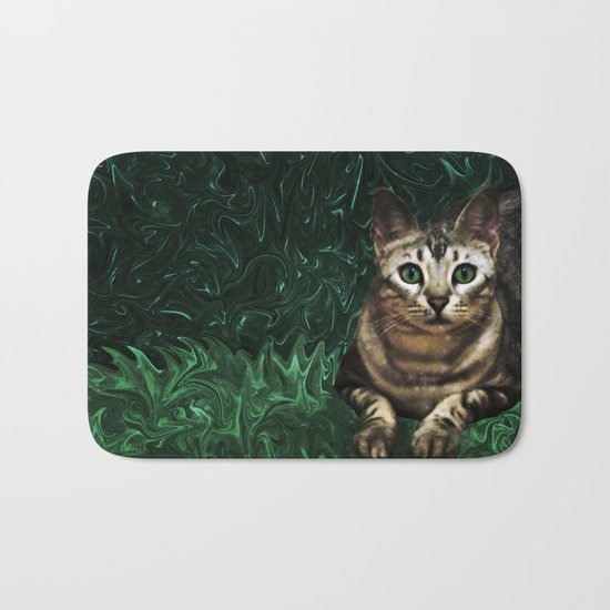 Green Grass Cat Eyes of a Marble Lepre-cat Bath Mat