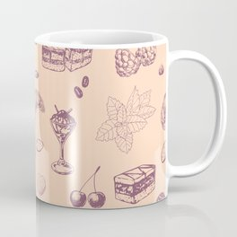 Sweet pattern with various desserts. Coffee Mug