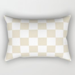 Brown, Beige: Checkered Pattern Rectangular Pillow