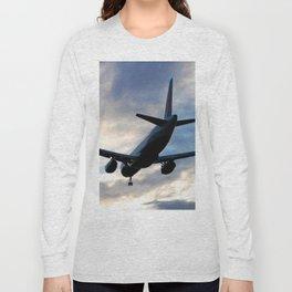 Airliner Landing at Sunset Long Sleeve T-shirt