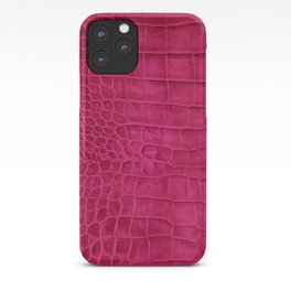 Croco leather effect - cherry iPhone Case
