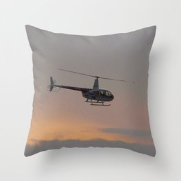 Helicopter At Sunset Throw Pillow