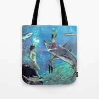 sharks Tote Bags featuring Sharks by Ben Giles