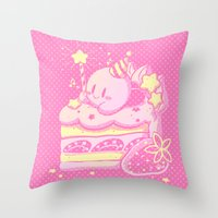 kirby Throw Pillows featuring Kirby Cake by Miski