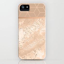 MARBLE HAZELNUT ROSEGOLD & HEXAGONAL iPhone Case