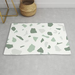 abstract terrazzo stone pattern sage green white Rug