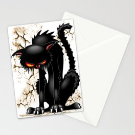 Black Cat Evil Angry Funny Character Stationery Cards
