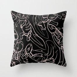 Scribbled Axolotls Throw Pillow