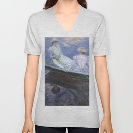 1887-Claude Monet-On the Boat-133 x 145 Unisex V-Neck