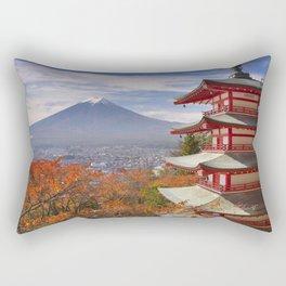 Chureito pagoda and Mount Fuji, Japan in autumn Rectangular Pillow