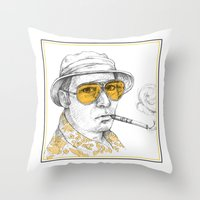 fear and loathing Throw Pillows featuring Fear and Loathing in Las Vegas by Michelle Eatough