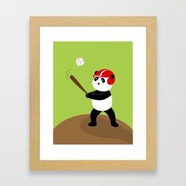 Play baseball together with a panda. Framed Art Print