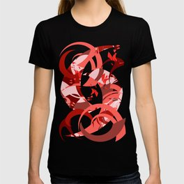 Abstract Curls - Burgundy, Coral, Pink T-shirt