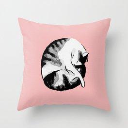Night night sleeping beauty cat - inktober Throw Pillow